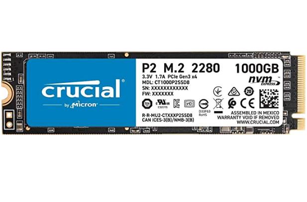 Crucial P2 CT1000P2SSD8 1TB NVMe M.2 SSD für nur 79,90€ inkl. Versand