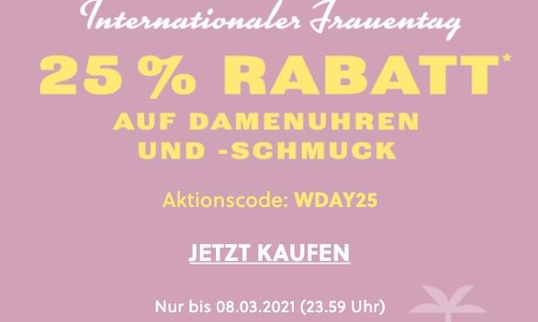 Nur noch heute: 25% Rabatt auf Damenuhren und Damenschmuck im Fossil Onlineshop!