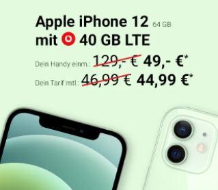 Apple iPhone 12 (64 GB) + Vodafone Smart XL Handy5 Spezial Boost Tarif mit 40GB 5G/LTE für nur 44,99 Euro mtl. und einmalig 49,- Euro Zuzahlung