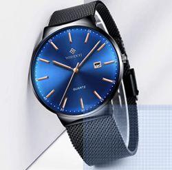 Pricedrop! Herren Quarz Armbanduhr mit Edelstahl Armband für 13,49 Euro
