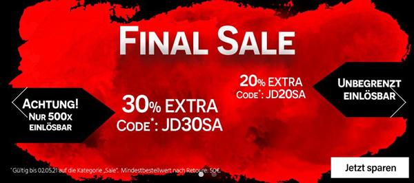 Bis zu 30% Extra Rabatt auf Sale Ware bei Jeans Direct (ab 50,- Euro MBW)