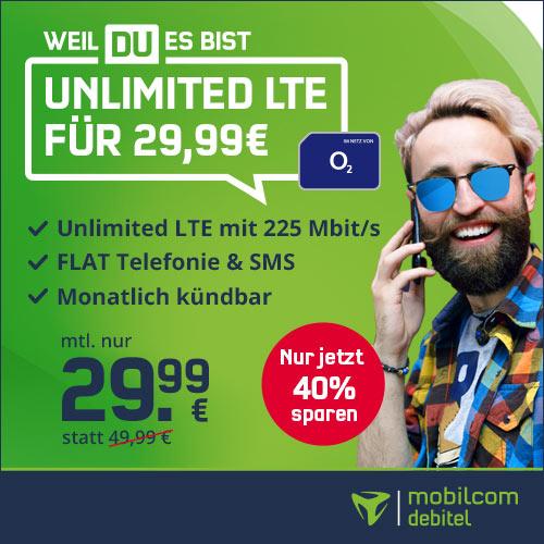 o2 Free Unlimited Max für nur 29,99€/Monat + einmalig 9,99€ Anschlusspreis – monatlich kündbar + 2 Monate Gymondo gratis!