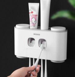 Blusea Zahnbürstenhalter mit Zahnpastaspender und 4 x Zahnputzbecher für 14,44€