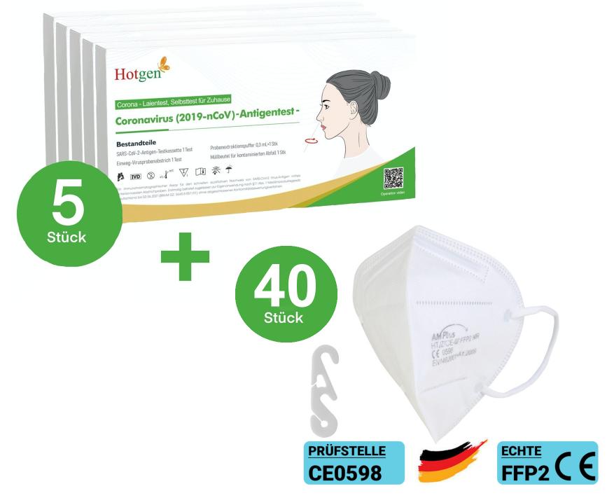 5x Hotgen Novel Coronavirus (2019-nCoV)-Antigentest (BfArM-Zulassung als Laientest) + 40x AMPlus FFP2 Schutzmaske CE 0598 für nur 49,95 € inkl. Versand