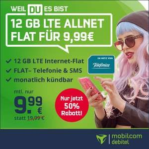 12 GB Allnet Flat (LTE 50Mbit, O2/Telefonica, Allnet/SMS, VoLTE, WiFI Calling) für 9,99€ monatlich