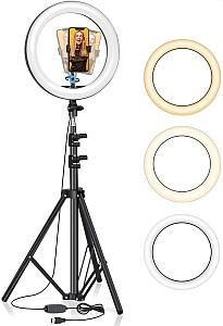 BlitzWolf LED Ringlicht mit Stativ (126 LEDs, 11 Helligkeitsstufen, 3 Farben, bis 160cm) für 28,69€