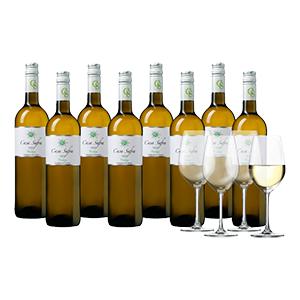 8 Flaschen Casa Safra (Rot oder Weiß) + 4 Schott-Zwiesel-Weingläser für nur 44,99€