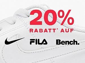 Deichmann: 20% Rabatt auf Adidas / Nike / FILA / Bench / Skechers