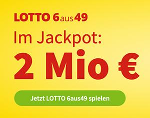 Heute 2 Mio. Lotto-Jackpot: 5 Felder 6aus49 für 1€ statt 6€ als Lottohelden Neukunde spielen