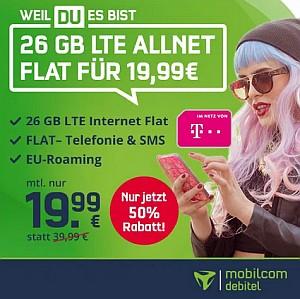 Telekom Allnet-Flat mit 26GB LTE (inkl. VoLTE + WLAN Call) für 19,99€ mtl.