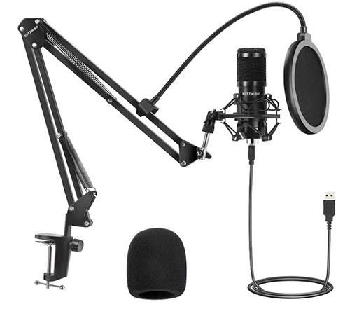 BlitzWolf USB Kondensator Mikrofon Kit mit Verstellbarem Mikrofonarm, Popschutz & Tischhalterung für nur 25,99€