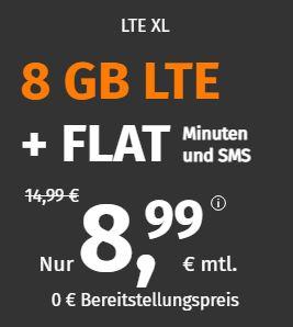 PremiumSIM LTE Allnet-Flat XL mit 8 GB Daten für 8,99€ pro Monat
