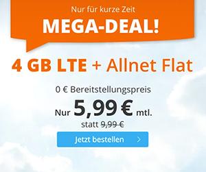Sim.de LTE Allnet-Flat mit 4 GB Datenvolumen für mtl. 5,99€ – 20 GB für 19,99€
