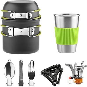 Awroutdoor Camping Kochgeschirr Set aus Aluminium (9-teilig, Töpfe, Becher, Besteck und Gaskocher) für 18,19€