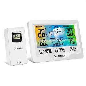 HOCOSY Funk Wetterstation mit Außensensor (Farbdisplay, Thermometer, Barometer, Wettervorhersage, Mondphasen) für 14,80€