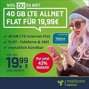 o2 Allnet-Flat mit 40GB LTE (VoLTE, WLAN Call) für 19,99€ mtl. (monatlich kündbar!)