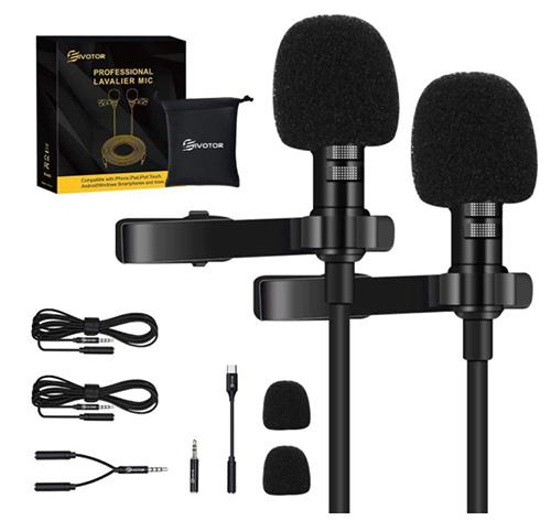 2x EIVOTOR Ansteckkondensatormikrofon (USB Typ-C, 2m Verlängerungskabel, omnidirektional) für 12,59€