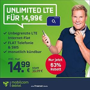 Nur bis 20 Uhr! mobilcom-debitel o2 Unlimited Smart Allnet-Flat mit unbegrenzt Daten für mtl. 14,99€