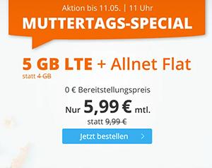 Top! Sim.de LTE Allnet-Flat mit 5 GB Datenvolumen für mtl. 5,99€ – 12 GB für 11,99€ oder 20 GB für 19,99€