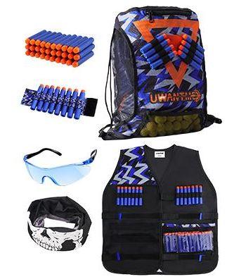 UWANTME Nerf Zubehör Set mit Weste, Rucksack, Brille und zusätzlichen Darts für nur 8,79€ bei Prime-Versand