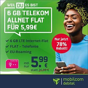 Telekom Allnet-Flat mit 6GB LTE (inkl. VoLTE + WLAN Call) für 5,99€ mtl.