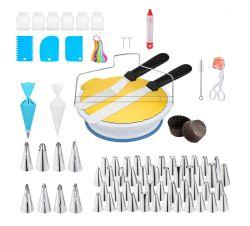 Drehbare HOCOSY Tortenplatte mit Tortendeko-Set (Spritzbeutel, Spitzen, Kuchenschaber usw.) für 16,13€ statt 26,89€