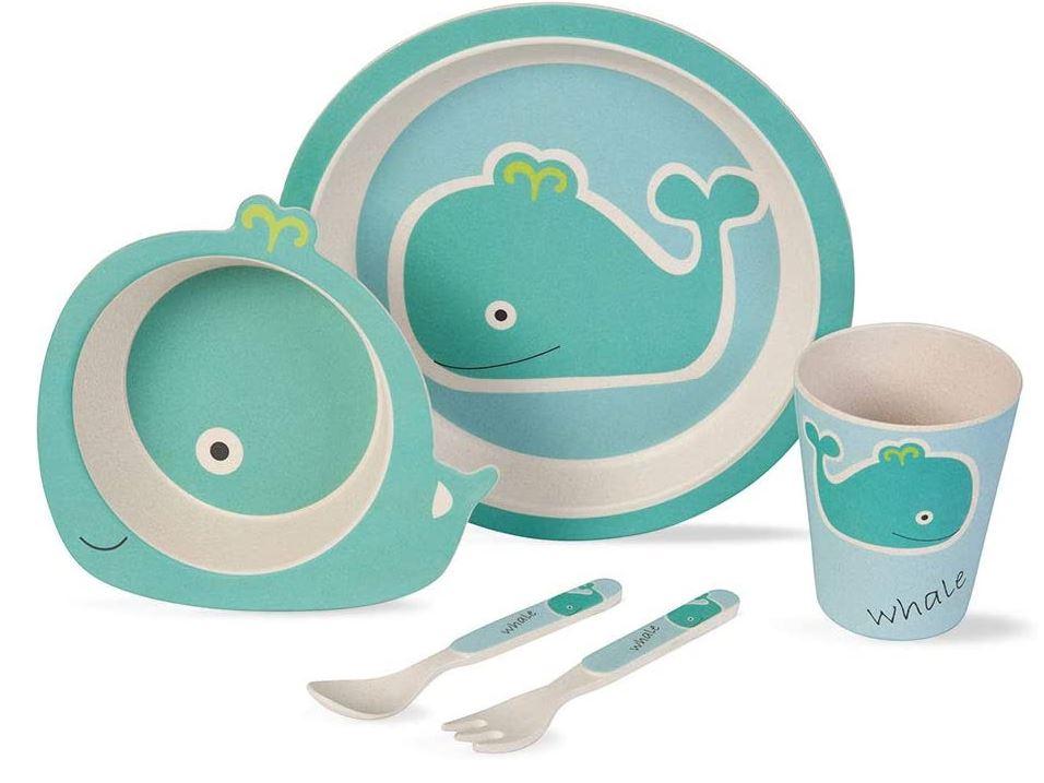 BIOZOYG Kinder Geschirr Set (5 tlg.) - Wal