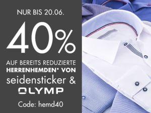 40% Rabatt auf bereits reduzierte Hemden von Seidensticker und Olymp bei Galeria Kaufhof