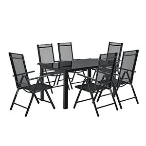 Juskys Aluminium Gartengarnitur Milano (1 Tisch + 6 Stühlen) für nur 309,95€