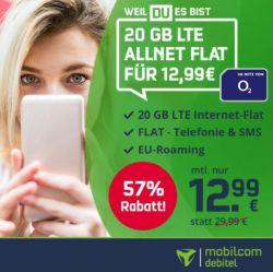Kracher: Mobilcom-Debitel o2 Free M mit 20GB LTE (bis 225 MBit/s) Allnet-Flat, EU-Flat und SMS-Flat für 12,99€ mtl.