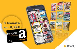 3 Monat Readly Zeitschriften-Flatrate für 0,99€ statt 29,97€ + 10€ Amazon Gutschein