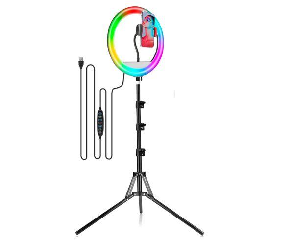 LAVKOW 12″ RGB Selfie Ringlicht mit Stativ für 15,99€