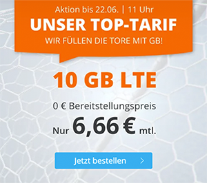 Sim.de LTE Tarif mit 10 GB Datenvolumen & 60 Freiminuten für mtl. 6,99€