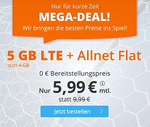 Sim.de Mega-Deal LTE Allnet-Flat mit 11 GB Datenvolumen für mtl. 11,11€