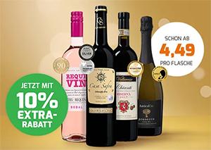 10% Extra-Rabatt auf rund 100 Weine bei Weinvorteil (MBW: 65€)