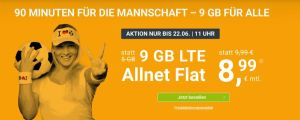 WinSIM Allnet-Flat z. B. mit 9 GB Datenvolumen für 8,99€ pro Monat (monatlich kündbar)