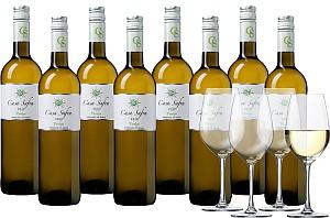 8 Flaschen Casa Safra Gran Reserva Weißwein + 4 Schott Zwiesel Gläser für 44,99 Euro