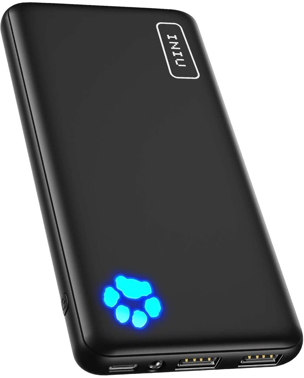 10000 mAh INIU Power Bank mit Taschenlampe, 1x USB C, 2x USB-A