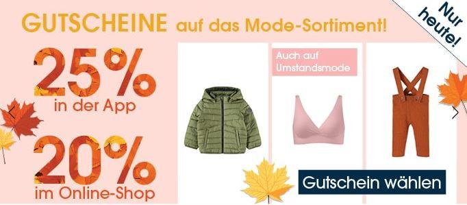 Nur heute: 20%/ 25% Rabatt auf die Kategorie Mode im Babymarkt Online-Shop bzw. in der App