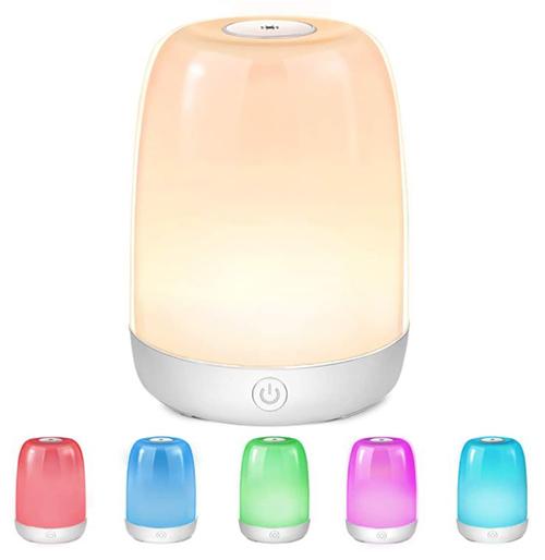 Ceshu dimmbare LED Nachttischlampe mit 1.200mAh Akku, 3 Helligkeitsstufen und Farbwechsel für 13,49€