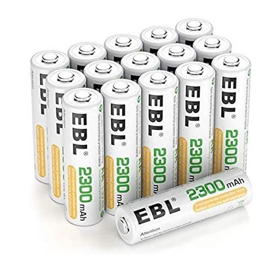 EBL wiederaufladbare AA Batterien (16, Stück, 2300mAh, NI-MH Mignon) für 16,19€