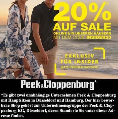 20% Insider Rabatt tausende Artikel bei Peek & Cloppenburg*