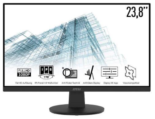 MSI PRO MP242VDE Monitor (23,8 Zoll, Full HD, IPS, 5ms, VGA, HDMI, 75Hz) für nur 99€ inkl. Versand