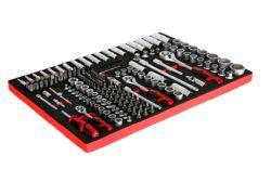 STIER Steckschlüssel-Satz 1/4″ 3/8″ 1/2″ 179-teilig in Weichschaumeinlage für 69,51€