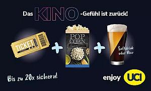 UCI-Kinogutschein – 2D inkl. Überlänge & Zuschlägen + Popcorn + Softdrink oder Bier (0,5 l) in allen UCI Kinos für 9,99€ (statt 24,30€)
