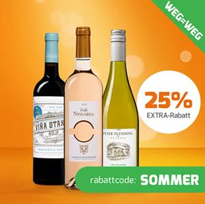 25% Extra-Rabatt auf über 65 reduzierte Weine bei Weinvorteil + gratis Versand!