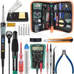 Lötkolben und Multimeter Kit mit Entlötpumpe und Werkzeug-Set für 22,65€ bei Banggood