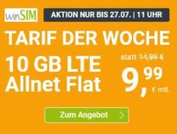 WinSIM Allnet-Flat mit 10 GB Datenvolumen für 9,99€ pro Monat – (monatlich kündbar)