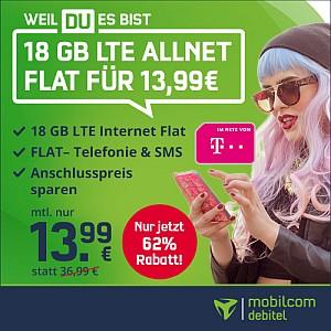 Top! MD Telekom Green LTE 18 GB Tarif für nur 13,99 Euro mtl.