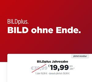 Top! 1 Jahr BILDplus nur 19,99€ statt regulär 39,99€